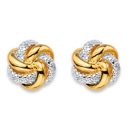 White Diamond Accent Two-Tone Pave-Style Love Knot Button Earrings 18k Gold-Plated at PalmBeach Jewelry