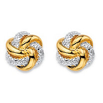 White Diamond Accent Two-Tone Pave-Style Love Knot Button Earrings 18k Gold-Plated