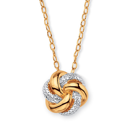 White Diamond Accent Two-Tone Beaded Pave-Style Love Knot Pendant Necklace 18k Gold-Plated 18