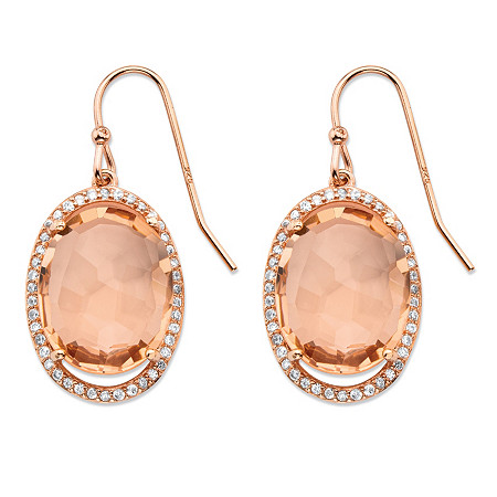 .42 TCW Oval Simulated Pink Morganite and Cubic Zirconia Halo Earrings in Rose Gold over Silver at PalmBeach Jewelry