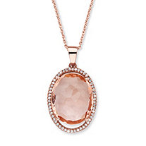 ".27 TCW Oval Peach Glass and Cubic Zirconia Halo Pendant Necklace in Rose Gold over Silver 18""-20"""