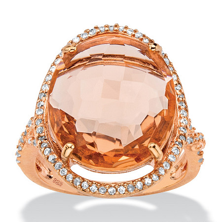.39 TCW Oval Peach Glass and Cubic Zirconia Halo Ring in Rose Gold over Silver at PalmBeach Jewelry