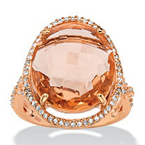.39 TCW Oval Simulated Pink Morganite and Cubic Zirconia Halo Ring in Rose Gold over Silver