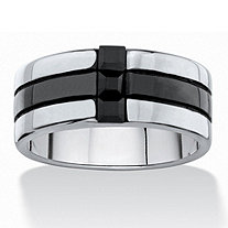 Men's Square-Cut Black Crystal Two-Tone Polished Ring Band in Black Ion-Plated Stainless Steel (8.5mm)