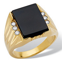Men's Emerald-Cut Simulated Onyx and Cubic Zirconia Grooved Ring .21 TCW in Gold Ion-Plated Stainless Steel