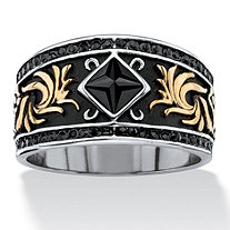 Men's Square-Cut and Pave Black Crystal Two-Tone Scroll Ring in Gold Ion-Plated Antiqued Stainless Steel