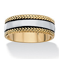 Men's Two-Tone Leaf-Edged Ring Wedding Band in Gold Ion-Plated Antiqued Stainless Steel (8mm)