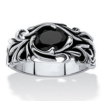 Men's Oval-Cut Simulated Black Sapphire Scrolling Leaf Ring in Antiqued Stainless Steel