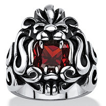 Men's 2.65 TCW Square-Cut Garnet Red Cubic Zirconia Tribal Lion Ring in Antiqued Stainless Steel