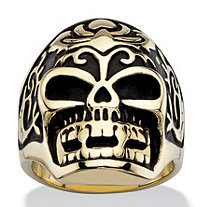 SETA JEWELRY Men's Two-Tone Gold Ion-Plated Tribal Skull Ring in Antiqued Stainless Steel