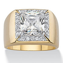 SETA JEWELRY Men's 2.44 TCW Square-Cut Cubic Zirconia Halo Ring 14k Gold-Plated