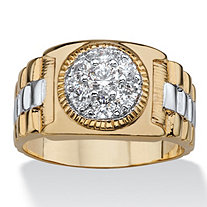 Men's .85 TCW Round Cubic Zirconia Two-Tone Cluster Ring 14k Gold-Plated