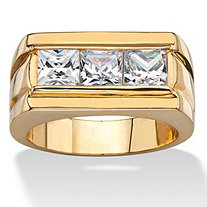Men's 2.10 TCW Square-Cut Cubic Zirconia Squared-Back Ring 14k Gold-Plated