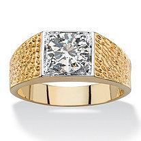 Men's Round Cubic Zirconia Textured Ring 2 TCW 14k Gold-Plated