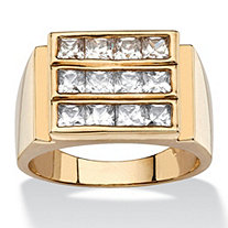 Men's 1.92 TCW Square-Cut Cubic Zirconia Triple-Row Ring 14k Gold-Plated