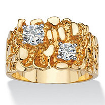 Men's 1.05 TCW Round Cubic Zirconia Nugget Ring 14k Gold-Plated