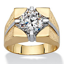 Men's 4 TCW Round Cubic Zirconia Signet-Style Square Ring 14k Gold-Plated
