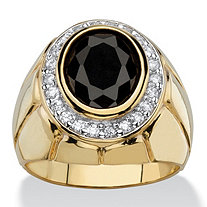 Men's 4.18 TCW Oval Black and White Cubic Zirconia Faceted Halo Ring 14k Gold-Plated