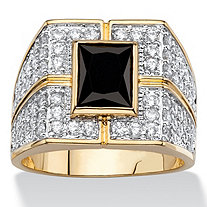 Men's 5.12 TCW Emerald-Cut Black and White Cubic Zirconia Cluster Grid Ring 14k Gold-Plated