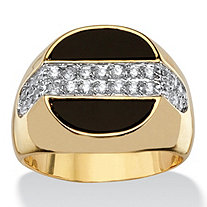 Men's .65 TCW Genuine Black Onyx and Cubic Zirconia 14k Gold-Plated Half Moon Ring