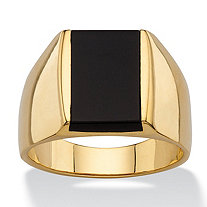 Men's Emerald-Cut Genuine Black Onyx Classic Ring 14k Gold-Plated