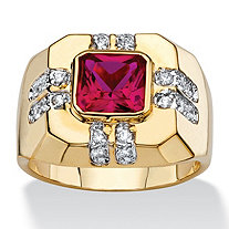 Men's 2.12 TCW Square-Cut Simulated Ruby and Cubic Zirconia Octagon Ring 14k Gold-Plated