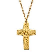 Authentic Replica Pope Francis Cross Pendant Necklace in Gold Tone 20