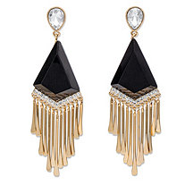 Pear-Cut White Crystal and Simulated Black Onyx Art Deco-Inspired Chandelier Fringe Earrings in Gold Tone 2.75""
