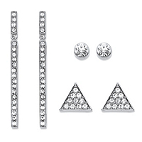 Triangle, Linear And Round White Crystal 3-Pair Cluster Stud And Drop Earrings