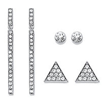 SETA JEWELRY Triangle, Linear and Round White Crystal 3-Pair Cluster Stud and Drop Earrings Set in Silvertone 1.75