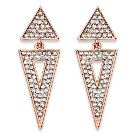 Round Crystal Double Triangle Cluster Drop Earrings Rose Gold-Plated 1.75