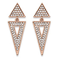 Round Crystal Double Triangle Cluster Drop Earrings Rose Gold-Plated 1.75""