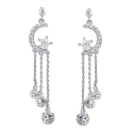 Crystal Moon and Stars Tassel Drop Earrings with Chain Accents and Crystal Droplets in Silvertone 2