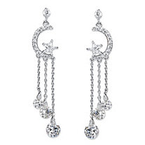 Crystal Moon and Stars Tassel Drop Earrings with Chain Accents and Crystal Droplets in Silvertone 2""