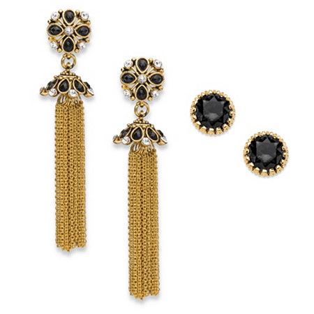 Round Black and White Crystal 2-Pair Floral Motif Stud and Tassel Earrings Set in Gold Tone 3