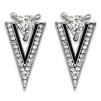 Trilliant-Cut and Round Crystal Double Triangle Art Deco-Style Drop Earrings in Silvertone and Black Ruthenium .75""