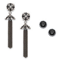 Round Black and White Crystal 2-Pair Floral Motif Stud and Tassel Earrings Set in Antiqued Silvertone 3""