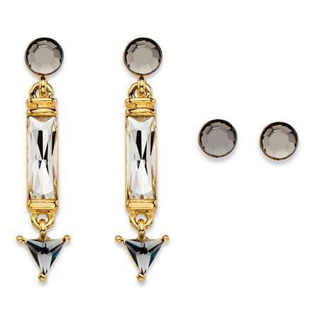 Round, Baguette and Trilliant-Cut Grey and White Simulated Crystal 2-Pair Stud and Drop Earrings Set in Gold Tone 1.5