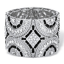 Black and Grey Simulated Crystal and Pearl Geometric Art Deco-Style Beaded Stretch Bangle Bracelet in Silvertone 7.75""