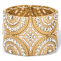 White and Gold Crystal and Simulated Pearl Geometric Art Deco-Style Beaded Stretch Bangle Bracelet in Gold Tone 7.75""