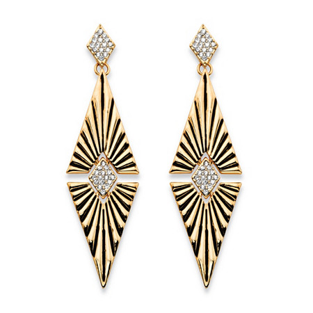 Round Crystal Art Deco-Style Etched Diamond-Shaped Drop Earrings in Gold Tone 2.75