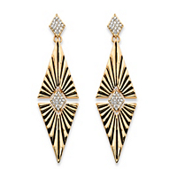Round Crystal Art Deco-Style Etched Diamond-Shaped Drop Earrings ONLY $4.99