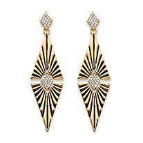 SETA JEWELRY Round Crystal Art Deco-Style Etched Diamond-Shaped Drop Earrings in Gold Tone 2.75
