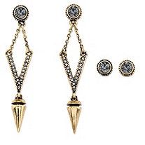 Round Grey Crystal 2-Pair Stud and Open Diamond-Shaped Drop Earrings Set with Golden Charm and Chain Accents in Gold Tone 2.75