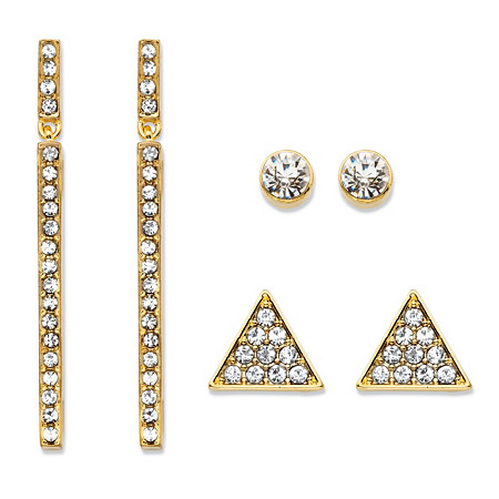Triangle, Linear and Round White Crystal 3-Pair Gold Tone Cluster Stud and Drop Earrings Set 1.75