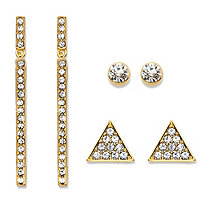 Triangle, Linear and Round White Crystal 3-Pair Gold Tone Cluster Stud and Drop Earrings Set 1.75""