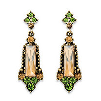 Baguette-Cut Champagne and Round Green Faceted Crystal Vintage-Style Drop Earrings in Antiqued Gold Tone 2""