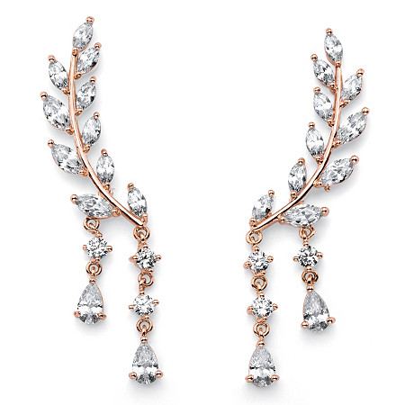 Marquise and Pear-Cut White Crystal Laurel Leaf and Hanging Crystal Accent Ear Climber Earrings Rose Gold-Plated 1 5/8