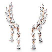 Marquise and Pear-Cut White Crystal Laurel Leaf and Hanging Crystal Accent Ear Climber Earrings Rose Gold-Plated 1 5/8""