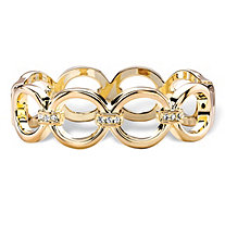Round White Crystal Circle Link Hinged Closure Bangle Bracelet in Gold Tone 7.5""